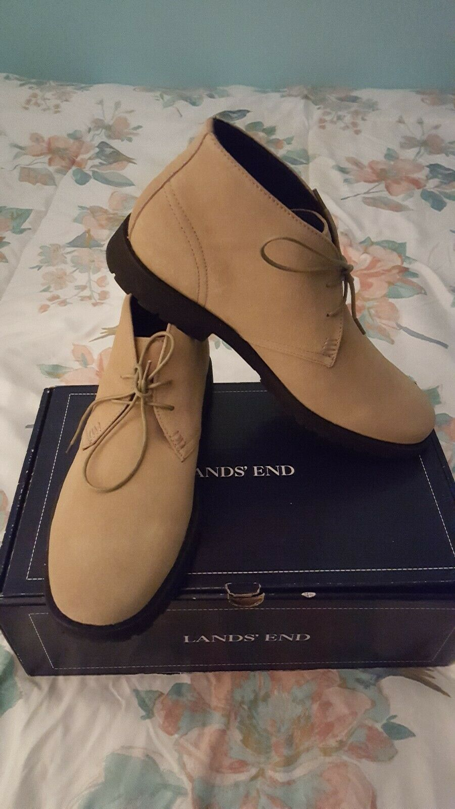 Lands' End Men's Sz 10 1 2 M Beige Chukka Boots - New Old Stock in Box - Rare