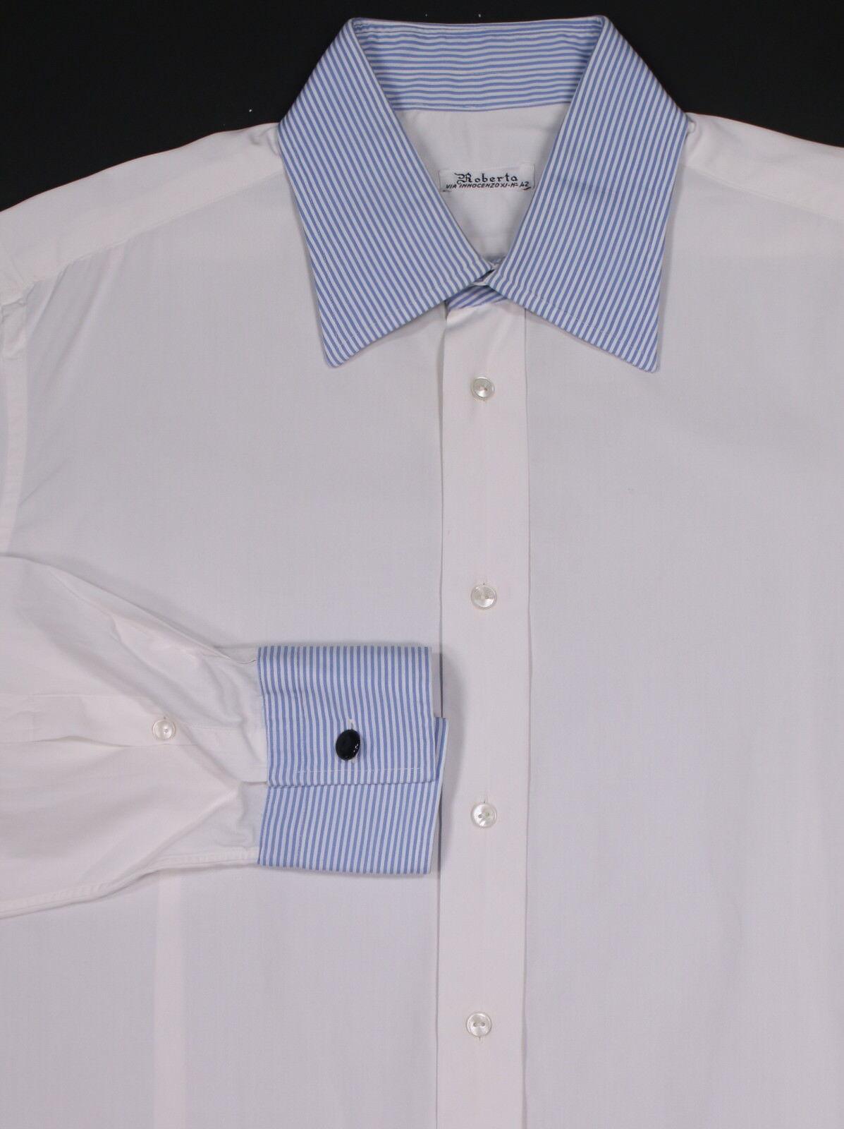 ROBERTO  Milano Bespoke Weiß w/ Blau Stripes Cuffs/Collar Dress Shirt 15-32