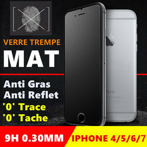 vitre film protection cran verre tremp mat iphone 4 5 6 s plus 7 8 anti traces ebay. Black Bedroom Furniture Sets. Home Design Ideas