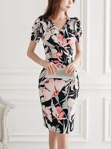 Elegante Vestito Nero Abito Fiori Donna Raffinato Slim Morbido Tubino 3674 r57nXrAv