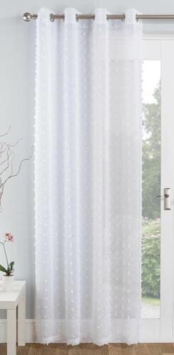 White Voile Panel Pom Pom Tufted Eyelet Curtains Boho Ring Top Sheer Voiles
