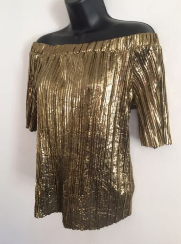 Ex River Island Gold Sparkle Plisse Off The Shoulder Bardot Blouse Top Size 8-18