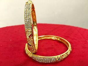 Indian-Traditional-Ethnic-2PC-Gold-Plated-Jewelry-Kada-Bangles-Bracelets-Set