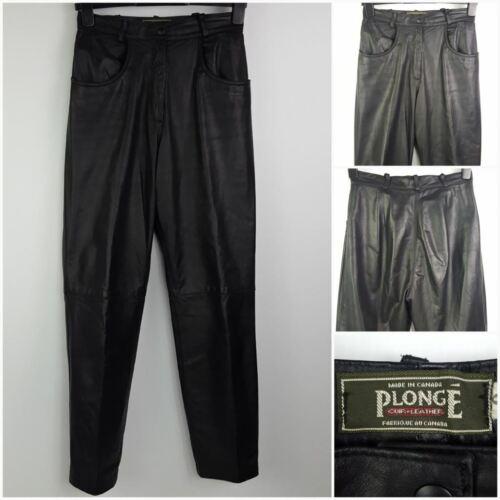 Rise pelle Pantaloni 6 Sz High neri in Cuir in Canada realizzati Plonge w4XnpOXq