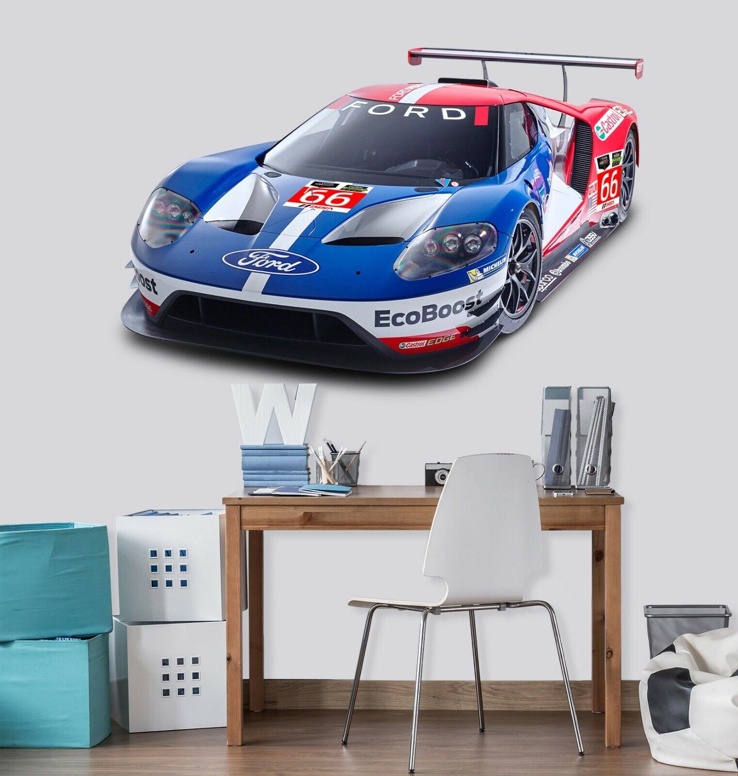 3D Blau Racing Car A223 Car Wallpaper Mural Poster Transport Wall Stickers Zoe