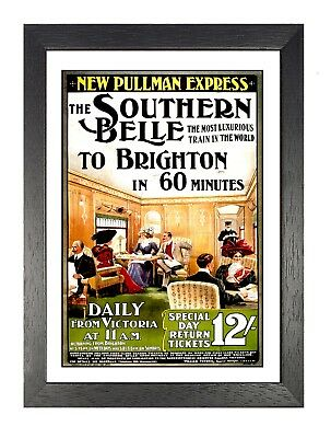 Southern Belle Old Vintage Advert Poster People in Train Photo Brighton Picture