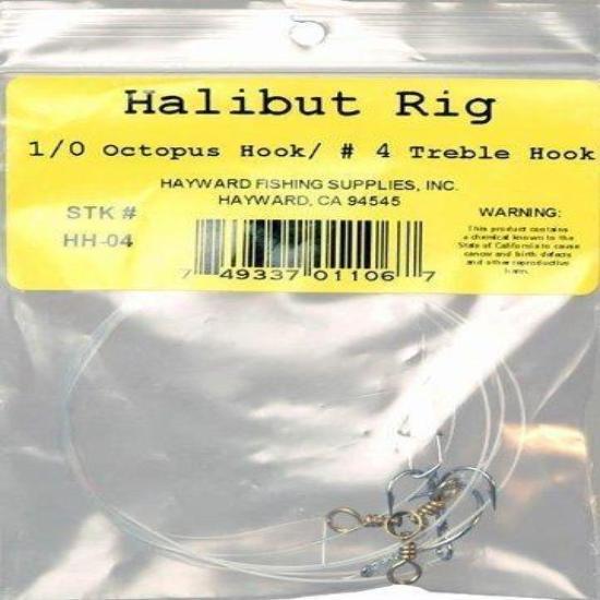 Hayward Fishing Supplies Halibut Rig Treble Hook #4 - High Quality, Fishing