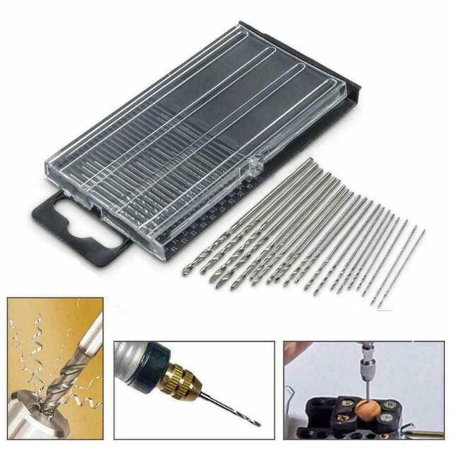 US PRO 20pc HSS Metal Micro Mini Small Drill Bit Set Metric 0.3mm-1.6mm 2409