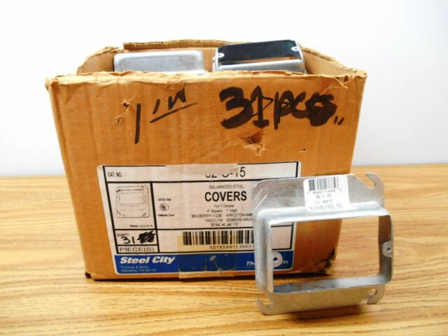 """lot of 2 72C16 Steel City 4 11//16/"""" square  one device cover 1 1//14/"""" raised"""