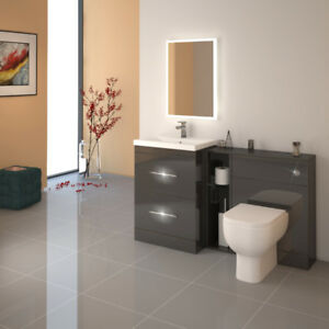 Patello 1400mm Grey Bathroom Fitted Furniture Vanity Sink Basin