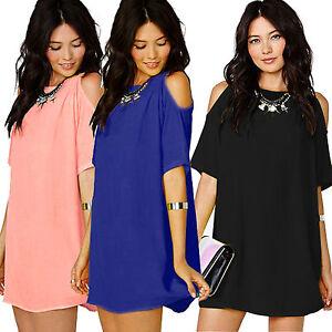 6-16-Womens-Plus-Size-Chiffon-Baggy-Off-Shoulder-T-Shirts-Blouses-Top-Mini-Dress