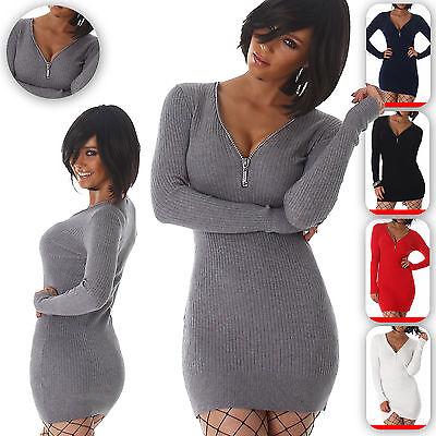 Damen Strickkleid V Ausschnitt Longpulli Pullover Pullikleid Mini kurz Winter