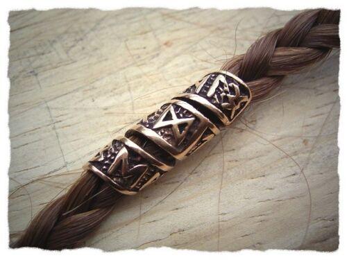 Lockenperle aus Bronze Perle Wikingerperle mit Runen Bartperle