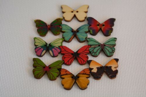 10 Pcs Mixed Bulk Butterfly Shape Phantom Wooden Painting art 052