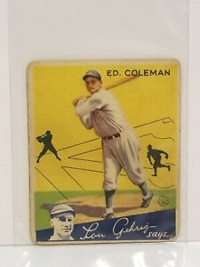 1934-Goudey-28-Ed-Coleman-RC-Philadelphia-Athletics-Baseball-Card