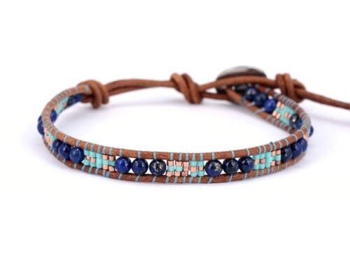 Natural lapislázuli y turquesa pulsera de abalorios Cable de apilamiento de Cuero Amistad