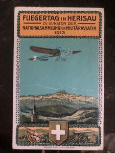 1925-Zurich-Switzerland-Picture-Postcard-cover-Military-Airmail-Fest