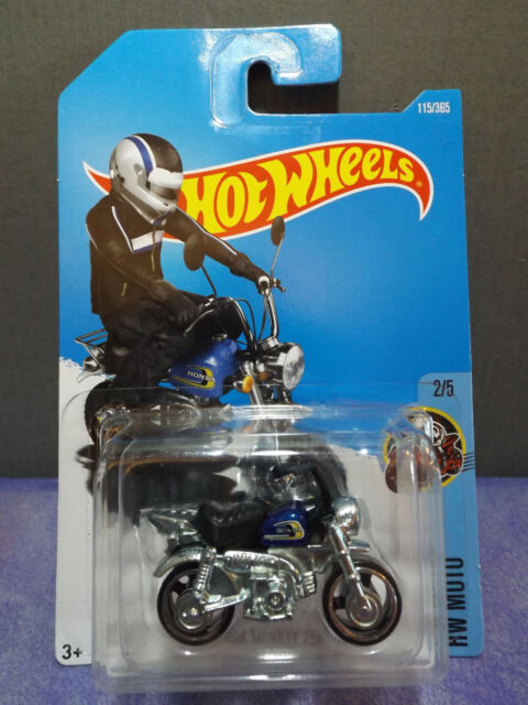 2017 HOT WHEELS HONDA MONKEY Z50, New Blue Gas Tank Bike HW MOTO series 2/5.