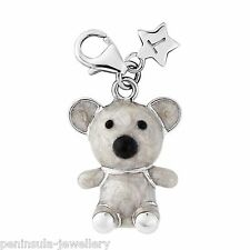 Sterling Silver Tingle Charm clip on Teddy Bear with Gift Box and Bag SCH294