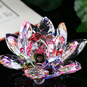 Lotus-Crystal-Glass-Figure-Paperweight-Ornament-Feng-Shui-Decor-Collection-NEW