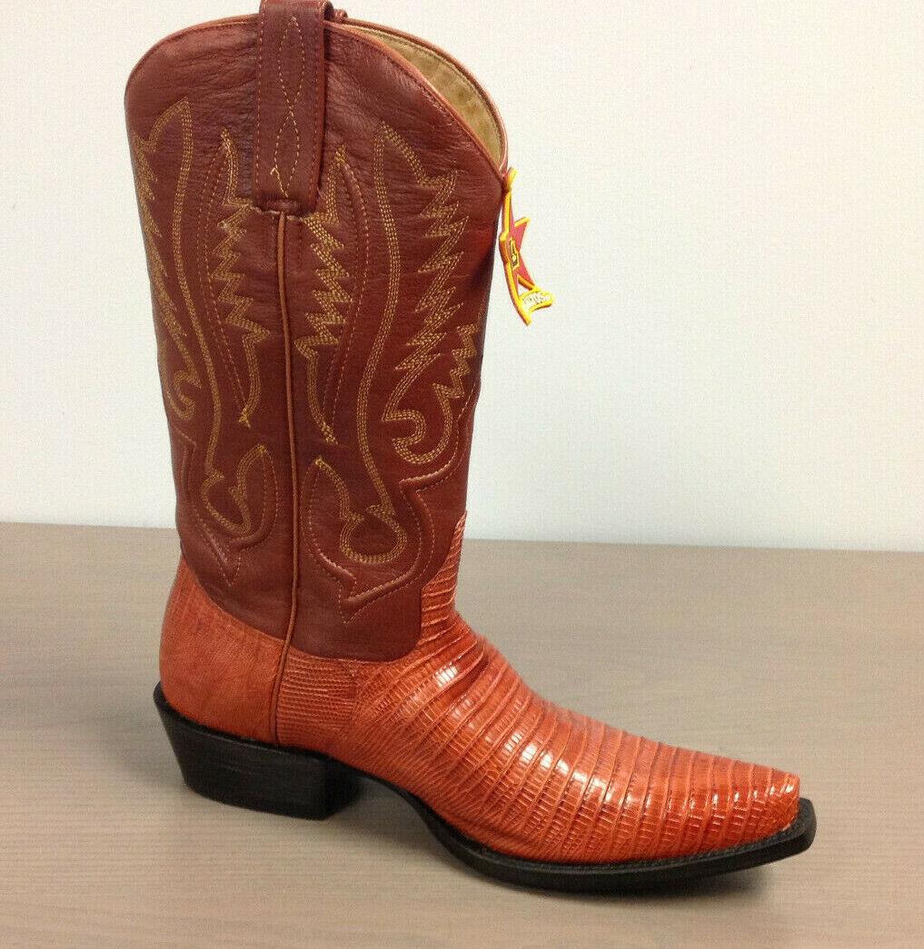 Los Altos Snip Toe Teju Lizard Boots Handcrafted 940703 Size 8 EE