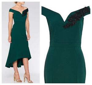 ex-Quiz-Bardot-Embroidery-Lace-High-Low-Midi-Occasion-Dress