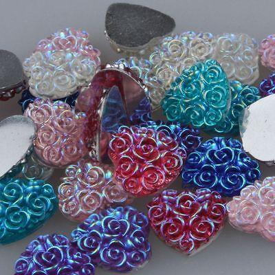50PCS 10MM Resin heart flatback Scrapbooking for phone/wedding/crafts Mix AB/