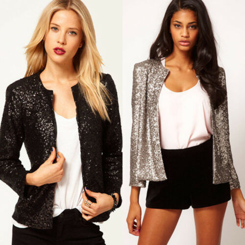 Women Sequin Formal Business Blazer Suit Cardigan Jacket Outwear Casual