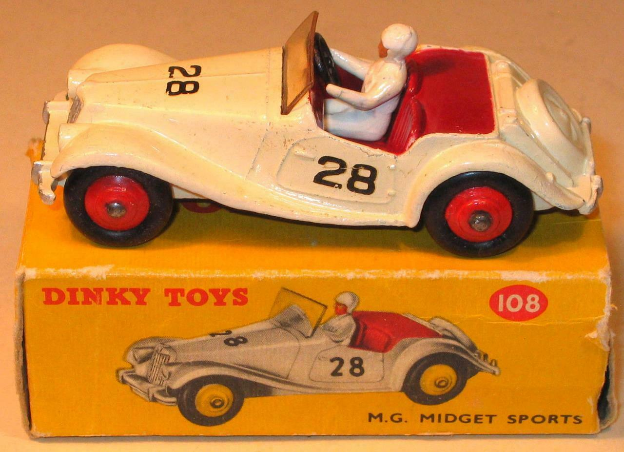 DINKY TOYS No 108 M G MIDGET COMPETITION IN CREAM 1955-59 GOOD