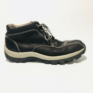 008c866b3bb1 Perry Ellis Black Ankle Boots Leather Lace Up Shoes Mens Size 12