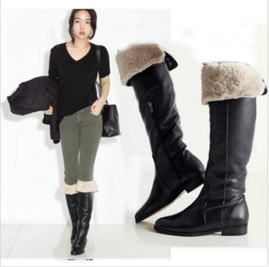 Vintage Womens Knee High Boots Fur Lined Winter Warm Zippers Mid-calf Boots size