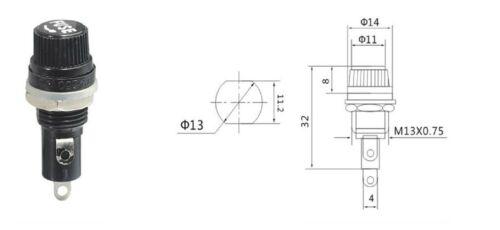 PORTAFUSIBILE da pannello 250 V 10A per fusibili 5x20 USO PROFESSIONALE