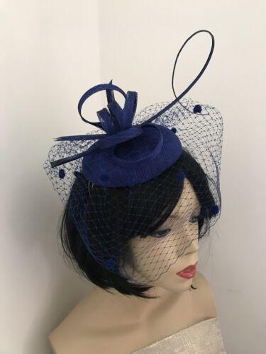 Fascinator Cobalt//Royal Blue Pillbox Wedding Hat Formal Headpiece Veil Hatinator