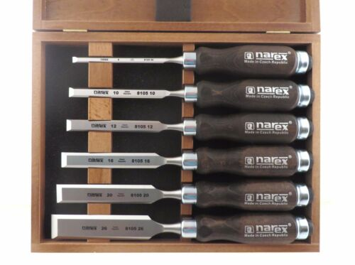 Narex 6 Pc Chisel Set in Wooden Presentation Box 853053 Made in Czech Republic
