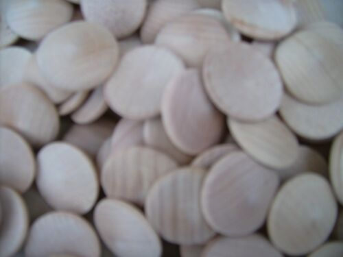 """PLAIN NATURAL COIN WOODEN DOMED 20x 1/"""" HARDWOOD BUTTON. DISC UNFINISHED"""