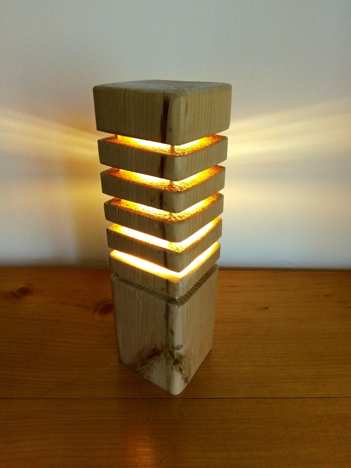 Wooden table lamp. Sliced wood LED Lamp