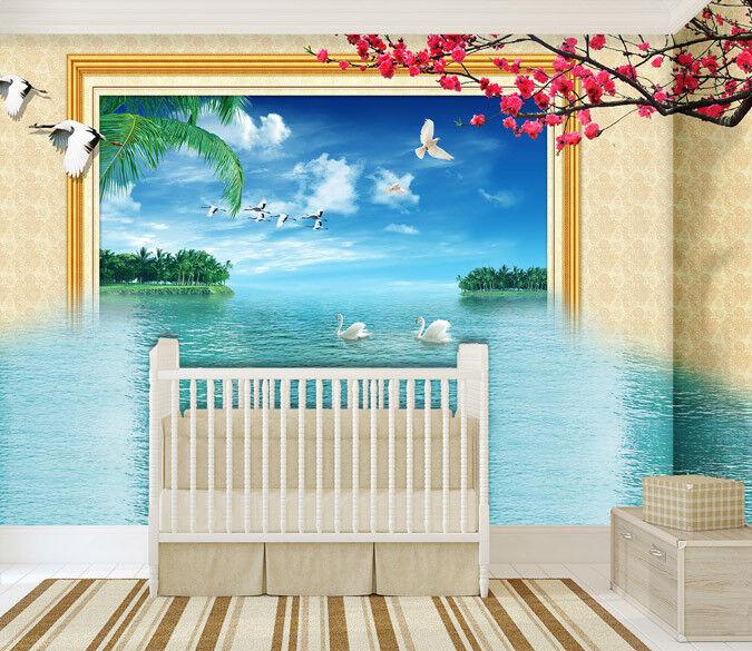 3d Swan Lake 744 Wallpaper Mural Wallpaper Wallpaper Picture Family De été