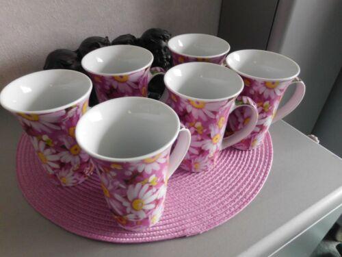 6 Kaffeetassen Kaffeebecher groß Blumen NEU Porzellan 300 ml weiß beere