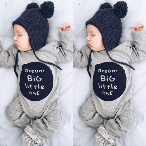 Newborn Infant Baby Boy Girl Long Sleeve Cute Romper Jumpsuit Clothes Outfits