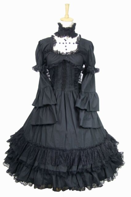 Ladies Black Long Sleeve Tiered Layered Lace Lolita Gothic Punk Dress