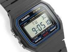 Casio 7 Year Battery Chronograph Watch, Black Resin Strap, Alarm, F91W-1