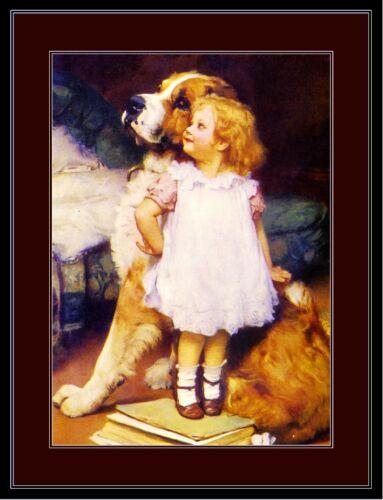 English Print Saint Bernard Dog Child Art Picture