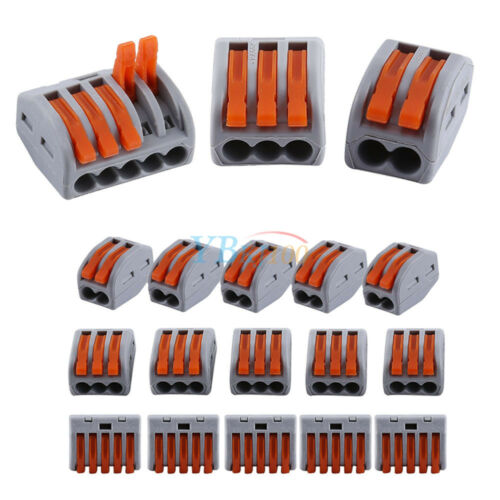 20pcs Spring Lever Push Fit Reusable 2//3//5 Way Wire Cable Connectors 32A 222-412