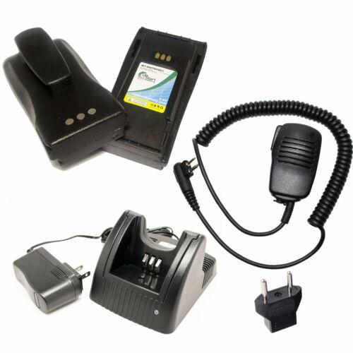 EU Adapter for Motorola CP200 EP450 Shoulder Speaker Mic 2Pack Battery+Charger