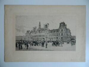Gravur Hotel De Ville De Paris Nach Ein Zeichnung Tinte China Anfang 1900