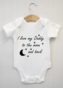 Me encanta mi papá a la Luna y Trasero Babygrow bebé crezca Top Chaleco Ducha Regalo