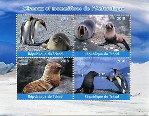Chad-2018-CTO-ANTARTICO-Birds-MAMMIFERI-4v-M-S-PINGUINI-sigilli-TIMBRI-ANIMALI
