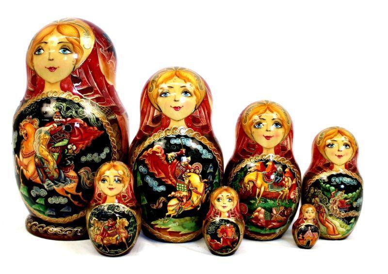 Matrioshka Rusa Vintage Auténtico Mano Pintada De Madera Nesting Dolls