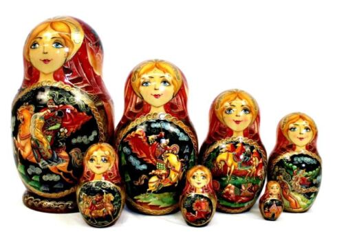 Matrioshka Russian Vintage Authentic Hand painted wooden nesting Dolls