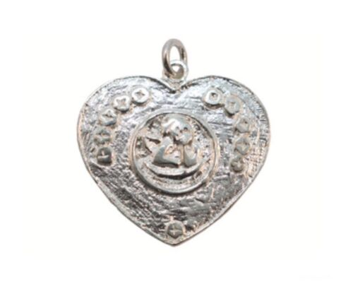 1 of 1 - Sterling Silver Cherub Love Heart Charm